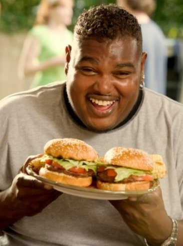 Fat Black Man Eating Burger 23