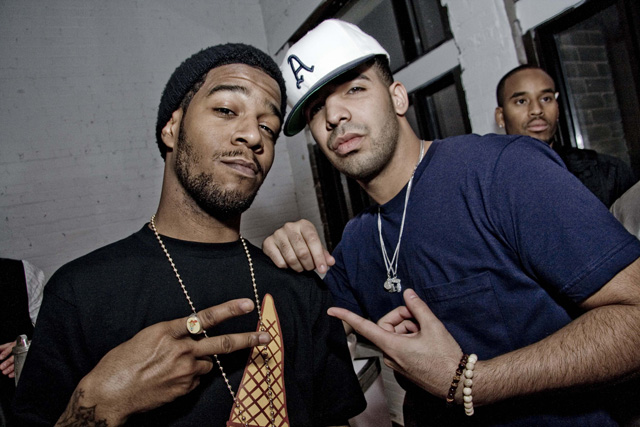 "Photo of Kid Cudi & his friend musician  Drake - Song ""Lay in Bed Alone"""