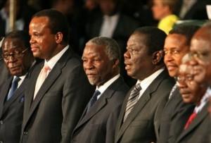 , Robert Mugabe, King Mswati III, Thabo Mbeki, Morgan Tsvangirai, Jakaya Kikwete, Armando Gebuza, Hafikepunye Pohamba