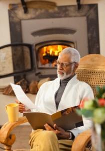 Black man reading brochure