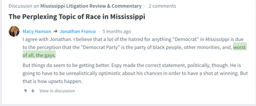 Mike Espy Tries to Make it That Mississippi Lawyers Aren't Prejudiced To Racism And Homophobia Lawyer Macy Hanson Comments Otherwise.