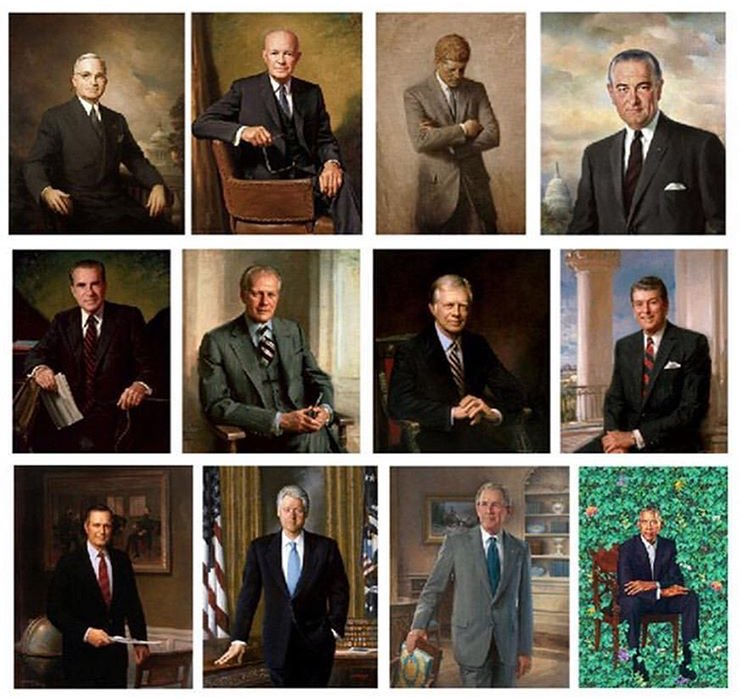Presidential Portraits-donaldtrump-obama-bush-clinton-thomasjefferson